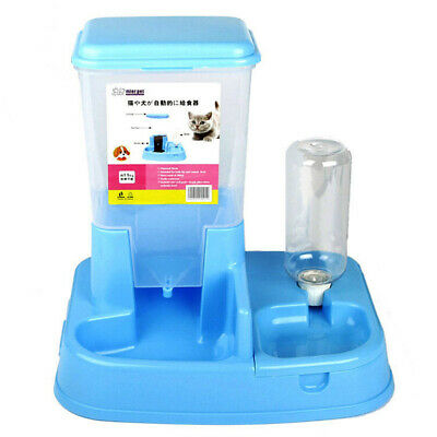 Auto Bowl Water Drinker Food Dispenser Fountain Pet Dogs Cat Puppy Feeder Blue
