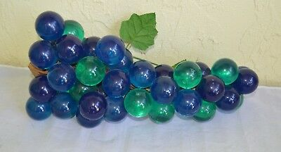 """Large Bunch of Lucite Grapes - Blue & Green - Mid Century Modern - 16"""" x 9"""""""
