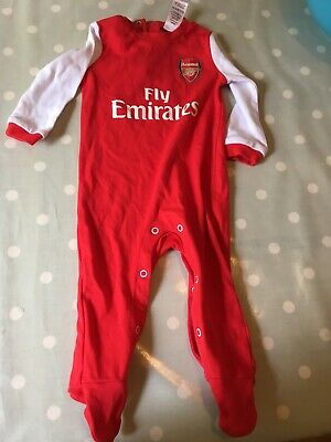 Arsenal FC Official Football Gift Home Kit Baby Sleepsuit Long Sleeve Red