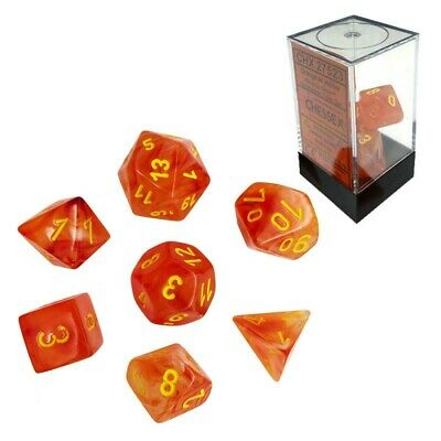 Set di dadi misti Ghostly Glow Orange w/yellow - Chessex CHX 27523