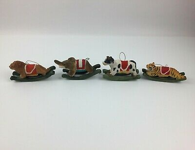 VTG Animal Carousel Merry Go Round Hand Carved Painted Wood Ornaments Lion Cow