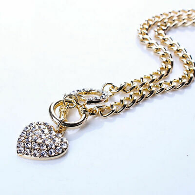Woman Chain Bling Rhinestone Toggle Clasp Heart Love Pendant Short Necklace