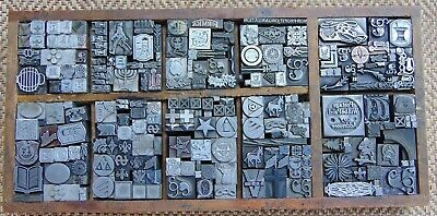 Vintage Letterpress Printing Blocks Lot All Metal Blocks Over 200