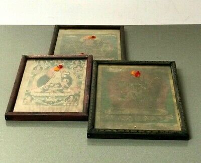 Vintage Indian, Nepal. Old Manuscipt Pages Framed As Religious Icons, For Puja.