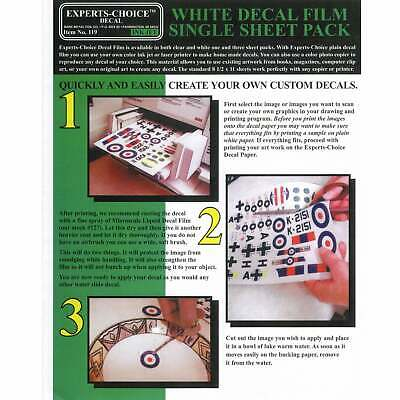 Experts-Choice White Decal Film For Inkjet Printer 215mm x 280mm SINGLE SHEET
