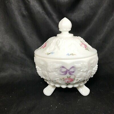 Vintage Milk Glass Grape Pattern Footed Covered Candy Dish Floral Painted