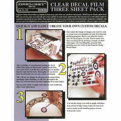 Experts-Choice Clear Decal Film For Inkjet Printer 215mm x 280mm THREE SHEETS