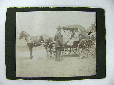 WOMAN WITH LARGE FEATHER HAT SITTING IN HORSE & BUGGY Vtg 1900's