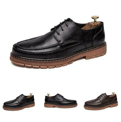 Mens British Leisure Leather Shoes Lace up Flats Non-slip Business Nightclub New