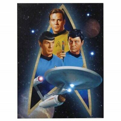 Star Trek Classic Trio and Enterprise 12 x 16 Lighted Stretched Canvas Wall Art