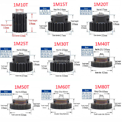45# Steel Spur Gear With Step 1M10T-80T Metal Mod 1 Motor Gear 10-80 Tooth x1Pcs