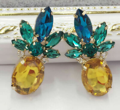 Crystal Ear Drop Stud Ancient Gold long Tassels Pineapple Earrings