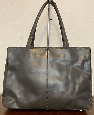 2b69486d70bb23 Vintage HOBO INTERNATIONAL Large Gray Leather Carryall Shopper Tote Bag  Purse