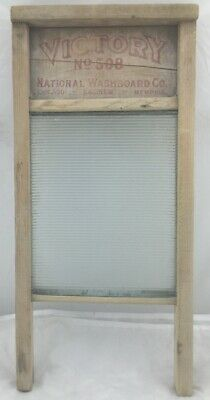 Vintage- Wash Board Victory Ribbed Glass Washboard No. 508 National Wood- Rare