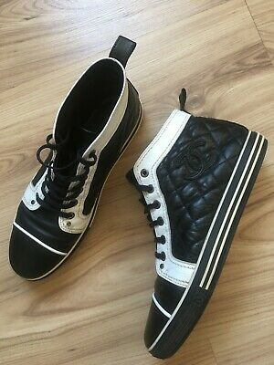 cebda0be27574 Authentic CHANEL black leather quilted sneakers logo CC size 38 1/5 (8/