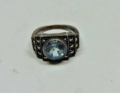 Antique Sterling Silver Deco Marcasite & Faux Zircon Ring Size 4.25 Must C! MB33