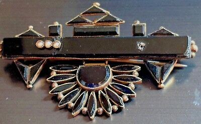 Antique Victorian Pink Gold GF Onyx Pearl Lg Pin Brooch Repair Steampunk #UT308