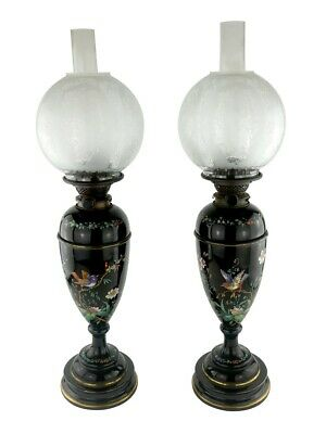 Pair of Hinks Duplex Oil Lamps : Magnificently Hand Painted Black Ceramic Base