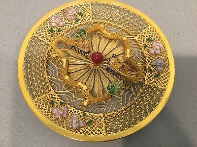 """Antique Vtg Chinese Gilded Filigree Enamel Relief Double Dragon Plate 8"""""""
