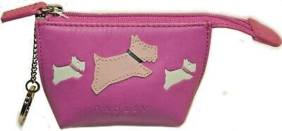 Radley Brand New Small Top Zip Coin Purse Keyholder Cerise Pink Free P&P