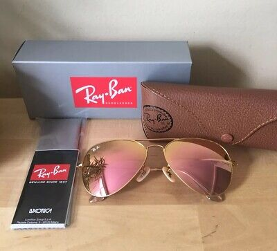 Ray-Ban Aviator Pink/Gold Mirror Lens w/ Matte Gold Frame-Rb3025 112/Z2 New