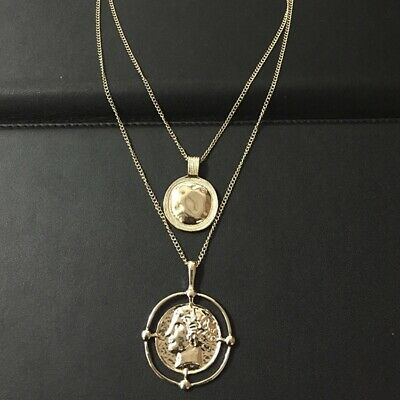 Woman Vintage Golden Carved Coin Necklace Medal Long Double Layer Chain Pendant