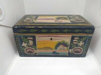"VTG 70's OLINALA GUERRERO MEXICAN FOLK ART  LACQUER ON WOOD BOX, HAND MADE 7""x4"""