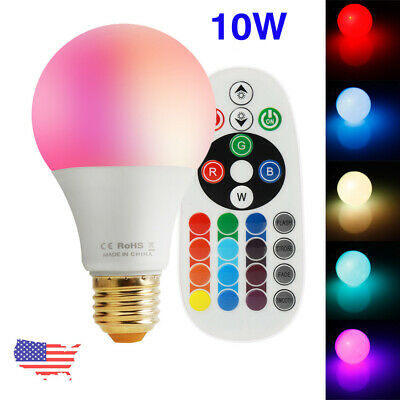 10W E26 RGBW LED Light Bulb Multi Color Change Memory Lamp with Remote Control
