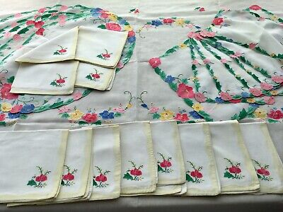 "Vintage Tablecloth 12 Napkin SET + Placemats Flowers Embroidery 104"" x 65"""
