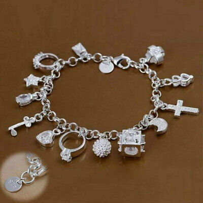 Bracelet Crystal H144 Jewelry Women 925Sterling Charms 13 Wholesale Silver Solid