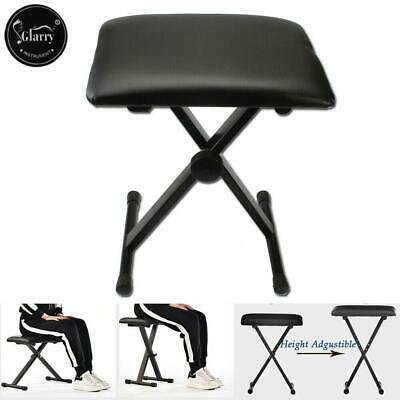 New Glarry Adjustable Folding Keyboard Piano Bench Stool Padded Seat Black Color