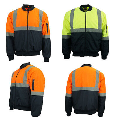 Hi-Vis Mens Warm Winter Safety Jacket ShowerWater Proof Reflective Work Wear AU