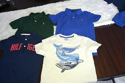 Lot (4) Boys Size 4 Polo Shirts & Tee - Polo Ralph Lauren, Tommy Hilfiger