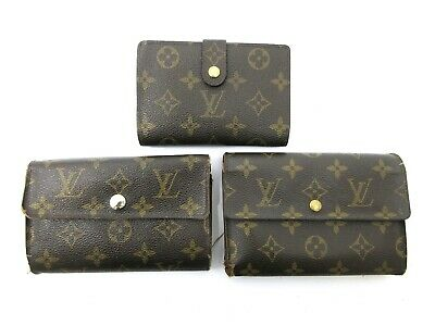 Authentic 3 Item Set LOUIS VUITTON Monogram Wallet PVC Leather 69604