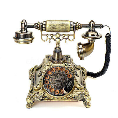Vintage Rotary Dial Retro Telephone Phone Copper Home Office Old Fashion Working