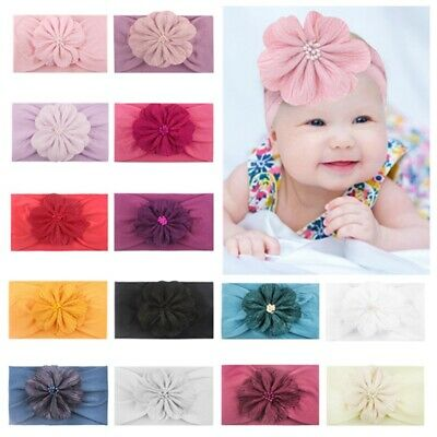 0-4Y Kids Baby Girls Elastic Cute Headband Hairband Soft Party Floral Headwear