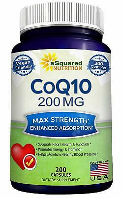 CoQ10 (200 Capsules and 200mg) - High Absorption Vegan CO Q-10 Enzyme