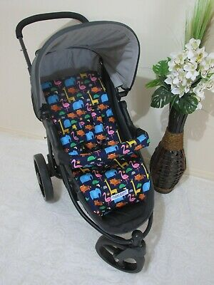 Stroller,pram liner set,universal,100% cotton fabric-Jungle shuffle,navy blue.