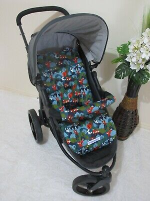 Stroller,pram liner set,100% cotton fabric-Where is the bear,blue,SALE*