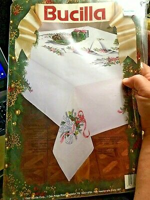"Bucilla DOVES AND HOLLY Tablecloth linen to Embroider  60"" x 104"" W/ 4 NAPKINS"