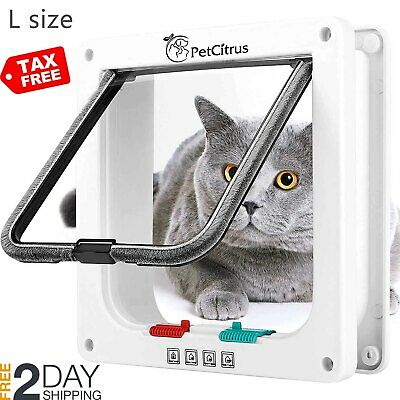 Cat Door Pet Doors by PetCitrus - 4 Way Locking Flap - for Interior Exterior - I