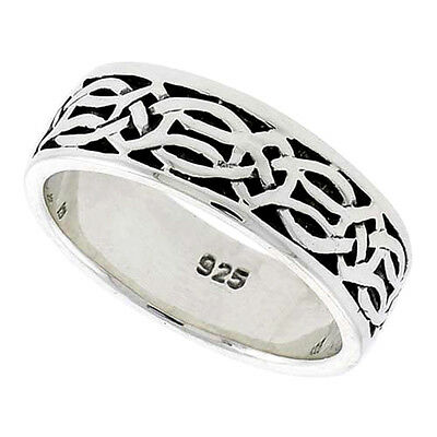 "5/16"" (8 mm) wide Sterling Silver Celtic Knot Wedding Band / Thumb Ring"