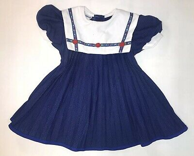 Vintage Thomas Blue Pleated Toddler Baby Girl's Size 2t White Collar Red Flowers