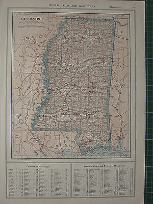 1926 Map ~ Mississippi Principal Cities & Towns Counties Lincoln Jones Hancock