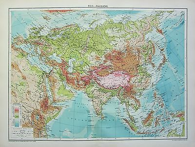 1934 Large Map ~ Asia Physical Showing Land Heights & Sea Depths