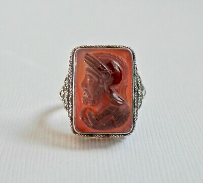 Sterling Silver Red Carnelian Ring Red Intaglio Roman Warrior Antique Jewellry