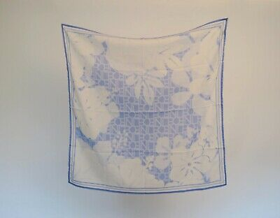 Blue and White Vintage Silk Scarf