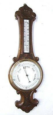 Antique Carved Oak Aneroid Banjo Barometer & Thermometer : Milk Glass Dials c40