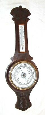 Antique Carved Oak Banjo Barometer & Thermometer signed ANEROID BAROMETER (c16)