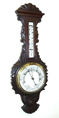 Antique Carved Oak Aneroid Banjo Barometer & Thermometer : Milk Glass Dial  b16